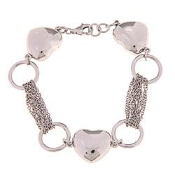 La Preciosa Sterling Silver Puffed Heart Multi-strand Bracelet