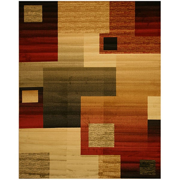 Contemporary Abstract Modern Boxes Rug (7'10 x 9'10)