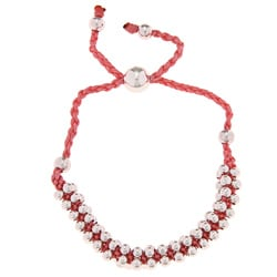 La Preciosa Silverplated Pink Cord Friendship Bracelet