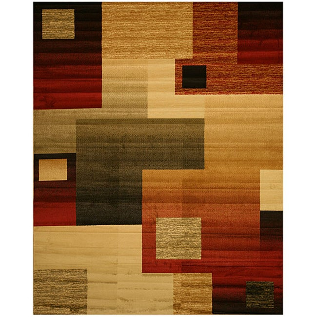Beige Contemporary Abstract Modern Boxes Rug (5'3 x 7'3)
