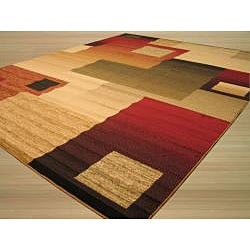 Beige Contemporary Abstract Modern Boxes Rug (5'3 x 7'3) - Thumbnail 1
