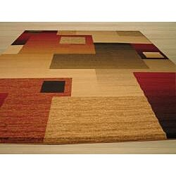 Beige Contemporary Abstract Modern Boxes Rug (5'3 x 7'3) - Thumbnail 2