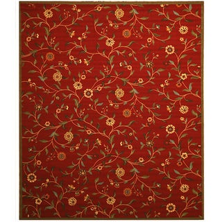 Red Transitional Floral Euro Home Rug (7'10 x 9'10)