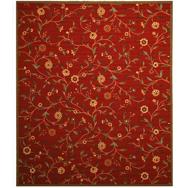 Red Transitional Floral Euro Home Rug (5'3 x 7'3)