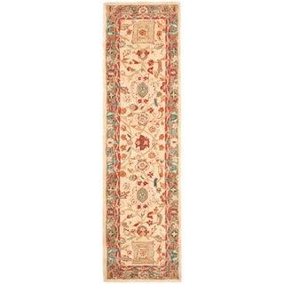 Safavieh Hand-made Oushak Beige/ Green Hand-spun Wool Rug (2'3 x 10')