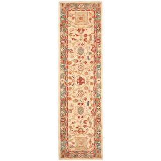 "Safavieh Handmade Anatolia Oriental Oushak Beige/ Green Hand-spun Wool Rug - 2'3"" x 10'"