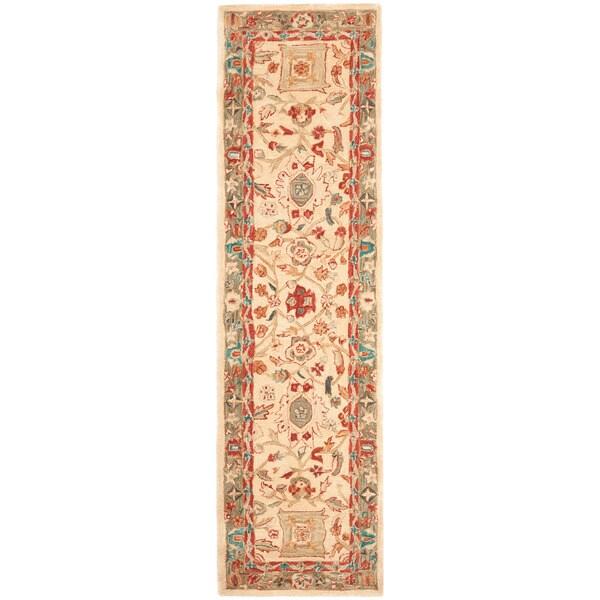 Safavieh Handmade Anatolia Oriental Oushak Beige/ Green Hand-spun Wool Rug (2'3 x 12')