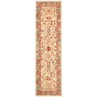 Safavieh Hand-made Oushak Beige/ Green Hand-spun Wool Rug (2'3 x 8')