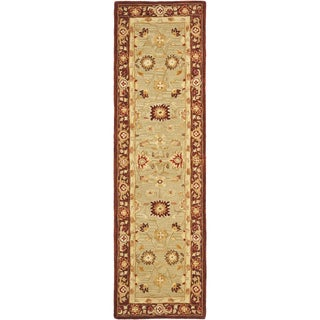 Safavieh Handmade Anatolia Oriental Farahan Sage Green/ Burgundy Hand-spun Wool Rug (2'3 x 14')