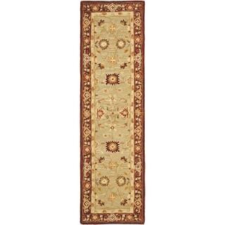 Safavieh Handmade Anatolia Oriental Farahan Sage Green/ Burgundy Hand-spun Wool Rug (2'3 x 8')