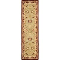 "Safavieh Handmade Anatolia Oriental Farahan Sage Green/ Burgundy Hand-spun Wool Rug - 2'3"" x 8'"