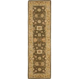 Safavieh Handmade Anatolia Oriental Farahan Brown/ Taupe Hand-spun Wool Rug (2'3 x 12')