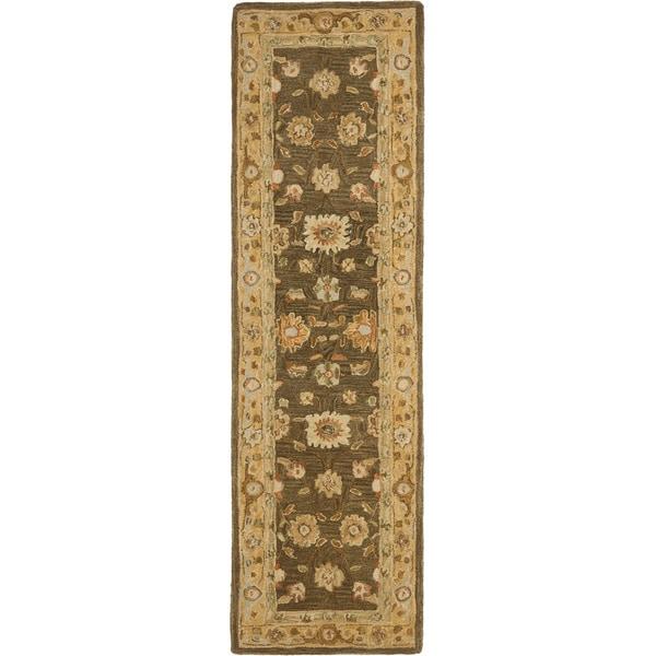 Safavieh Handmade Anatolia Oriental Farahan Brown/ Taupe Hand-spun Wool Rug (2'3 x 8')