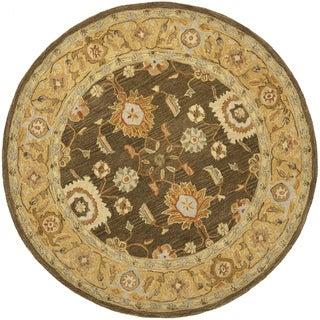 Safavieh Handmade Anatolia Oriental Farahan Brown/ Taupe Hand-spun Wool Rug (6' Round)