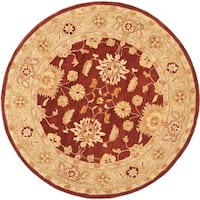 Safavieh Handmade Anatolia Oriental Farahan Red/ Sage Green Hand-spun Wool Rug (4' Round)