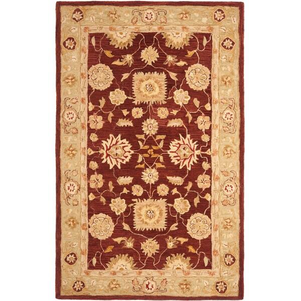 Safavieh Handmade Anatolia Oriental Farahan Red/ Sage Green Hand-spun Wool Rug (6' x 9')