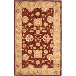 Safavieh Handmade Anatolia Oriental Farahan Red/ Sage Green Hand-spun Wool Rug (8' x 10')