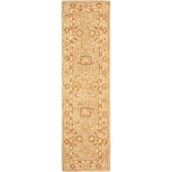 Safavieh Handmade Anatolia Oriental Farahan Sage Green Hand-spun Wool Rug (2'3 x 12')