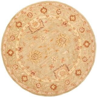Safavieh Handmade Anatolia Oriental Farahan Sage Green Hand-spun Wool Rug (4' Round)