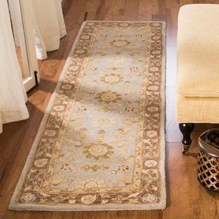 Safavieh Handmade Anatolia Treasure Oriental Teal/ Brown Hand-spun Wool Rug (2'3 x 14')