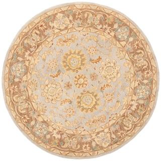 Safavieh Handmade Anatolia Treasure Oriental Teal/ Brown Hand-spun Wool Rug (6' Round)