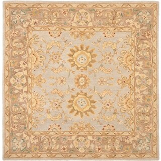 Safavieh Handmade Anatolia Treasure Oriental Teal/ Brown Hand-spun Wool Rug (6' Square)