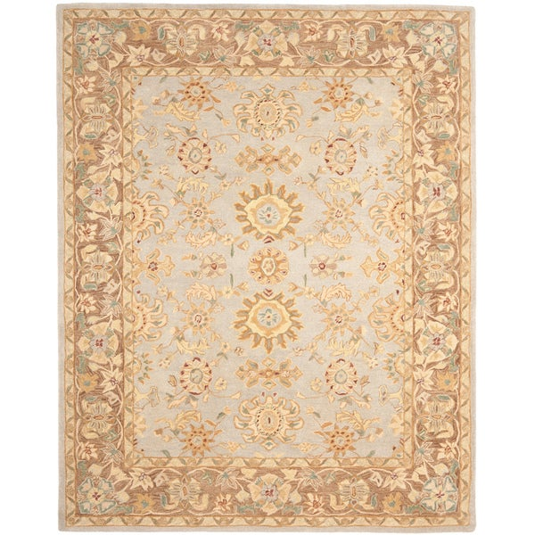 Safavieh Hand-made Antiquities Teal/ Brown Hand-spun Wool Rug (9' x 12')