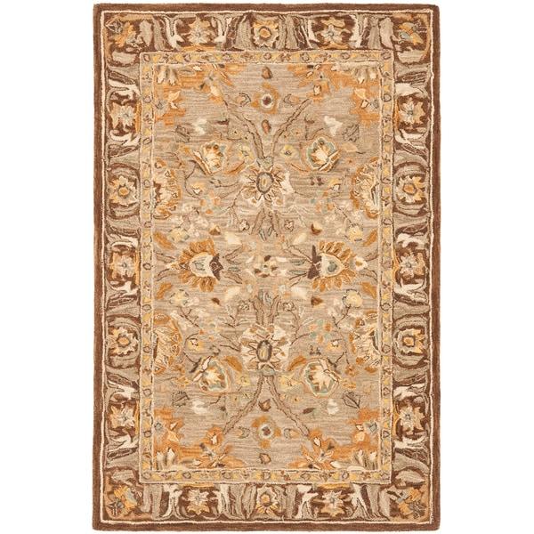Safavieh Handmade Anatolia Oriental Dark Grey/ Brown Hand-spun Wool Rug (4' x 6')