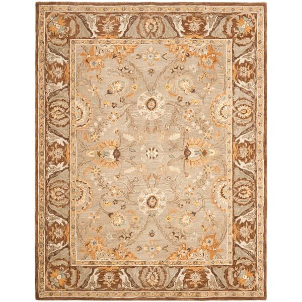 Safavieh Handmade Anatolia Oriental Dark Grey/ Brown Hand-spun Wool Rug (9' x 12')