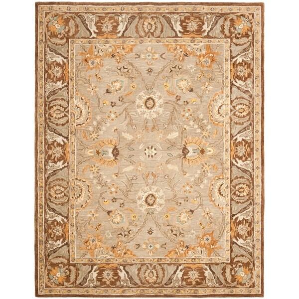 Safavieh Handmade Anatolia Oriental Dark Grey/ Brown Hand-spun Wool Rug - 9' x 12'