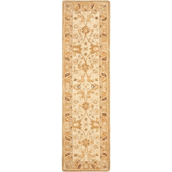 "Safavieh Handmade Anatolia Oriental Silver/ Light Brown Hand-spun Wool Rug - 2'3"" x 10'"