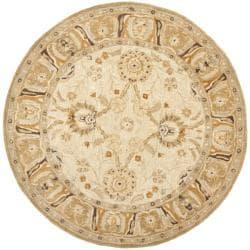 Safavieh Handmade Anatolia Oriental Silver/ Light Brown Hand-spun Wool Rug (8' Round)