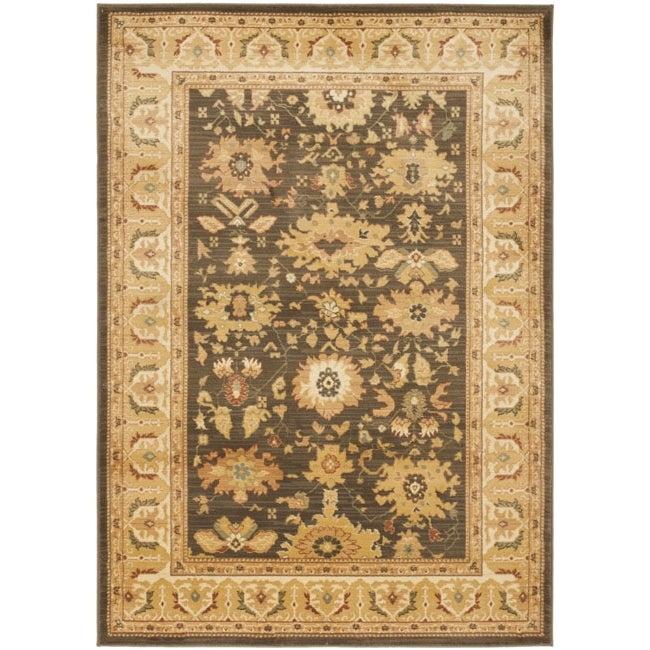 Safavieh Oushak Brown/ Cream Powerloomed Rug (9'6 x 13') - Thumbnail 0