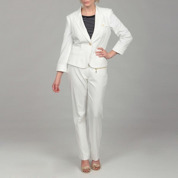 Emily Women's Cream Peplum Jacket Pant Suit - Free Shipping On