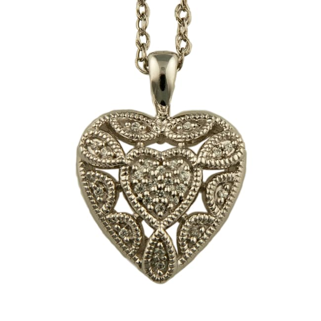 Sterling Silver 1/10ct Diamond Lacey Heart Necklace