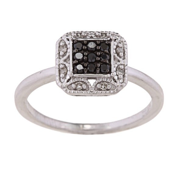 Sterling Silver 1/6ct TDW Black and White Diamond Ring (H-I, I2-I3)