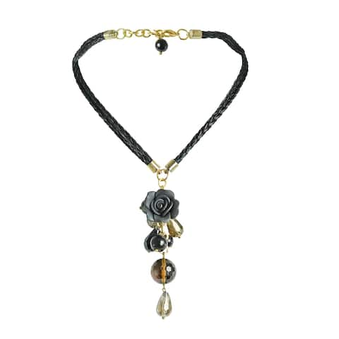 Handmade Black Crystal Dangle Leather Necklace (Thailand)