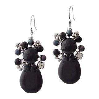 Handmade Drop Teardrop Black Onyx Pearl Silver Earrings (Thailand)