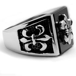Oliveti Stainless Steel Men's Onyx Fleur de Lis Ring