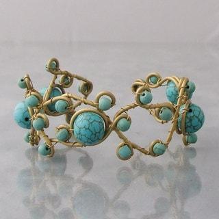 Handmade Brass Open Swirl Multi-gemstone Cuff Bracelet (Thailand)