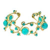 Handmade Brass Open Swirl Gemstone Cuff Bracelet (Thailand)