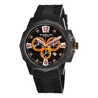 Stuhrling Original Men's Commander Swiss Quartz Chronograph Watch with Black Rubber Strap