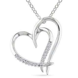 Miadora Sterling Silver White Diamond Double Heart Pendant Necklace