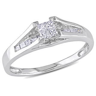Miadora 10k White Gold 1/3ct TDW Princess-cut Diamond Ring