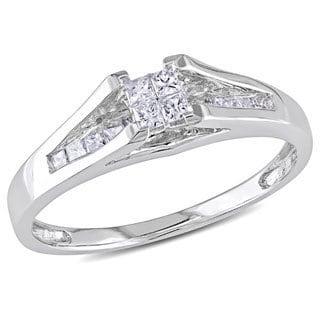 Miadora 10k White Gold 1/3ct TDW Princess-cut Diamond Ring