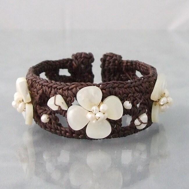 Lucky White Clover Pearl Cotton Cuff (Thailand)