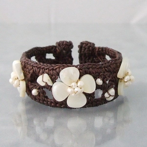 Handmade Lucky White Clover Pearl Cotton Cuff (Thailand)