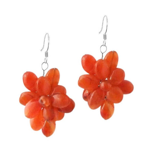 Handmade Flower Orange Carnelian 925 Silver Earrings (Thailand)