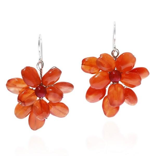 Handmade Flower Orange Carnelian 925 Silver Earrings (Thailand)