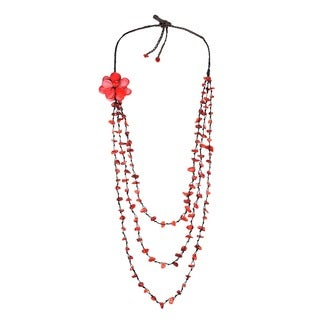 Sweet Red Lotus Triple Layer Red Coral Necklace/ Belt (Thailand)